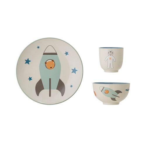 Bloomingville Geschirr-Set SPACE 3-teilig aus Steingut in weiß/blau