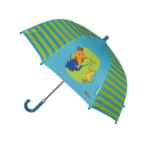 Playshoes Regenschirm DIE MAUS – FREUNDE FÜR IMMER in blau/grün
