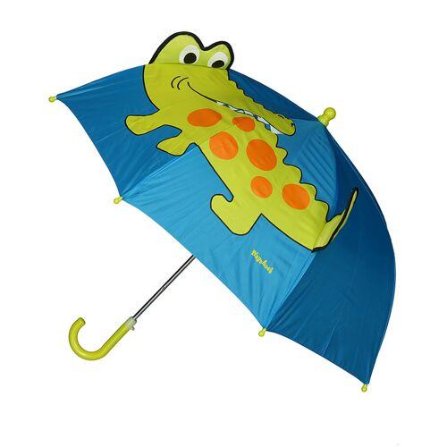 Playshoes Regenschirm KROKODIL in blau/grün