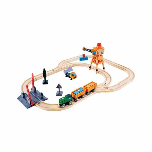 HaPe Eisenbahn BAHNÜBERGANG & KRAN-SET 34-teilig aus Holz