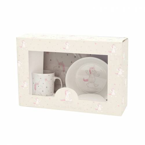 Jellycat Geschirr-Set BASHFUL UNICORN 3-teilig in weiß