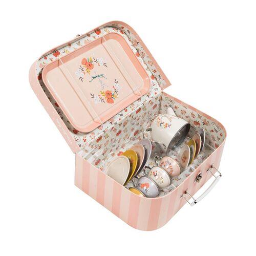 Moulin Roty Spiel-Geschirr LES PARISIENNES 14-teilig mit Koffer rosa