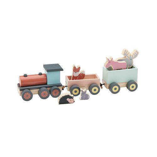 Kids Concept Holz-Zug EDVIN mit Holztieren in bunt