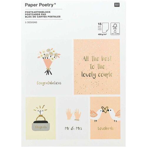 Rico Design Paper Poetry Postkartenblock Hochzeit 15 Karten