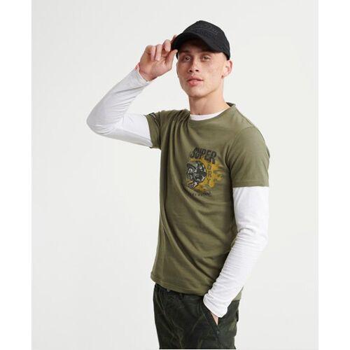 Superdry Super Biker T-Shirt mit Tasche S Kaki