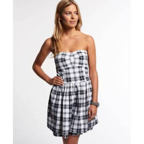 Superdry 50s Prom Plaid Kleid XS weiß