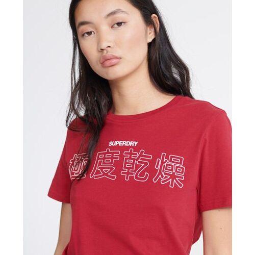 Superdry T-Shirt mit japanischen Schriftzeichen 38 rot