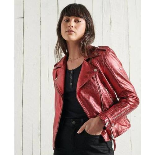 Superdry Bikerjacke aus Leder in Metallic-Optik 40 rot