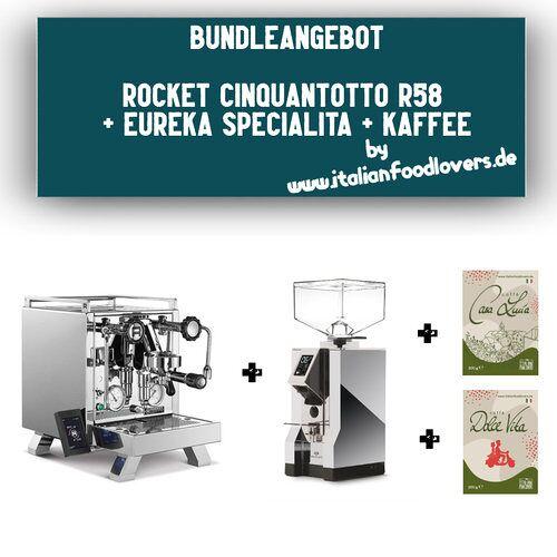 Rocket Bundle Set Rocket Espresso R CINQUANTOTTO R58 + Eureka Specialita Chrom 16CR + Kaffee
