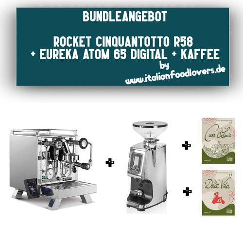 Rocket Bundle Set Rocket Espresso R CINQUANTOTTO R58 + Eureka Atom 65 Digital Chrom + Kaffee