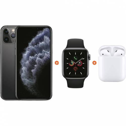 Apple iPhone 11 Pro 64 GB Space Gray + Apple Watch 5 40 mm + Apple AirPods 2 mit Ladecase