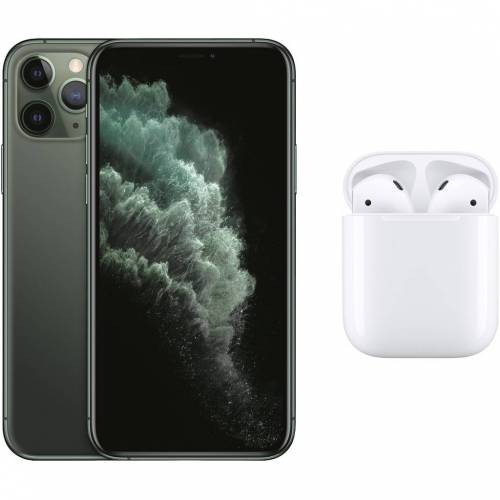 Apple iPhone 11 Pro 256 GB Midnight Green + Apple AirPods 2 mit Ladecase
