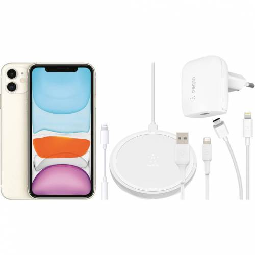 Apple iPhone 11 128 GB Weiß + Zubehörpaket Total Handy