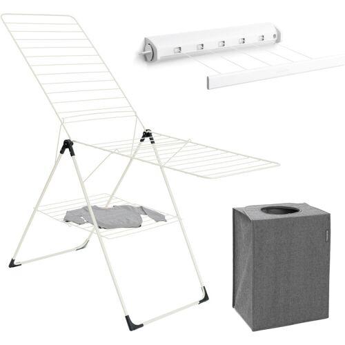 Brabantia Wäscheständer (weiß) + Wäschebox stapelbar + Roll-Wäscheleine