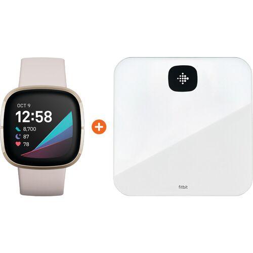 Fitbit Sense Weiß/Gold + Fitbit Aria Air Weiß Smartwatch
