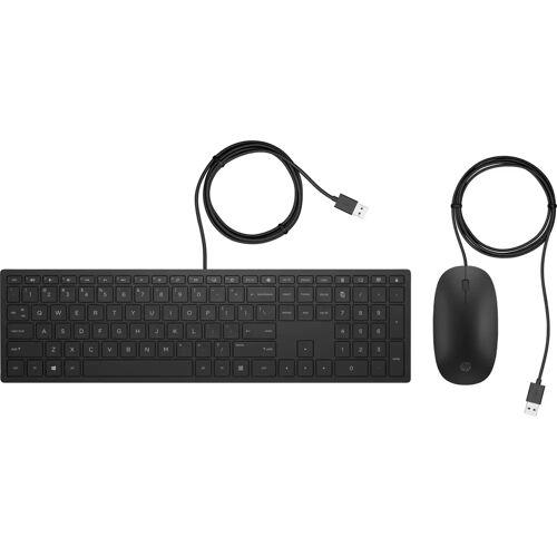 HP Pavilion 400 Tastatur mit Kabel und Maus QWERTZ Tastatur-Maus-Set