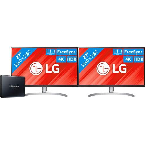 LG 2 x LG 27UL850 + 1 TB Samsung Portable SSD Bildschirm