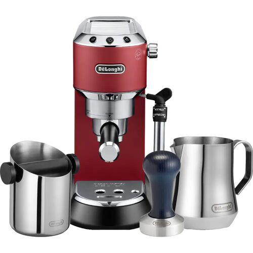 DeLonghi EC685.R Dedica Rot + Tamper + Abschlagbehälter + Milchkännchen