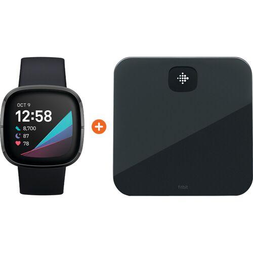 Fitbit Sense Grau + Fitbit Aria Air Schwarz Smartwatch