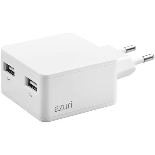 Azuri Ladegerät ohne Kabel, 2 USB-Anschlüsse 12 W in Weiß Ladegerät