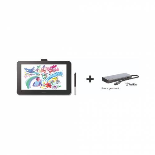 Wacom One 13 Stift-Display + Belkin USB-C-Hub Grafiktablett