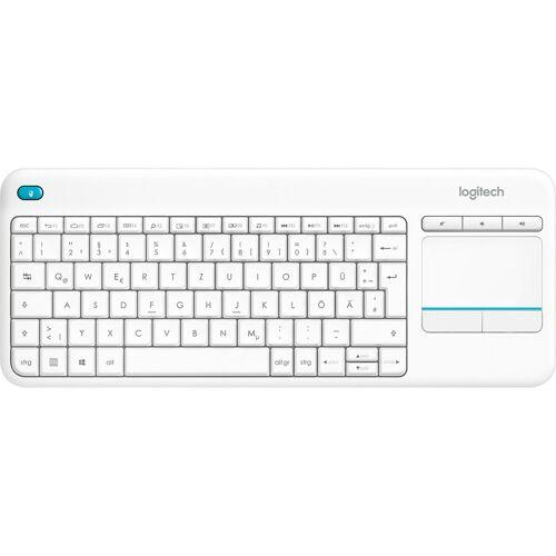 Logitech K400 Plus kabellose Touch Tastatur Weiß QWERTZ Tastatur