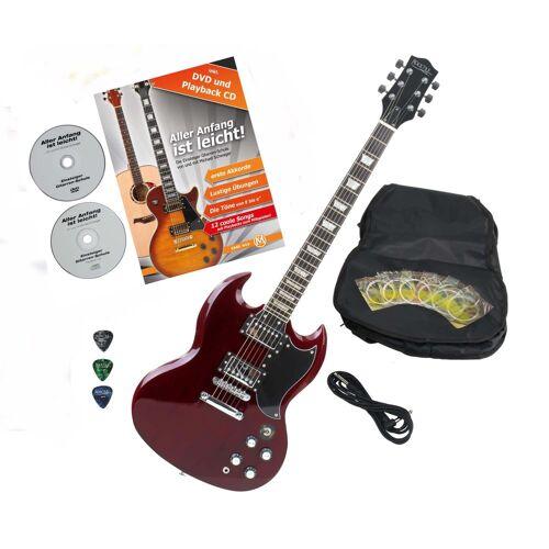 Rocktile Pro S-Red E-Gitarre Heritage Cherry mit Zubehör