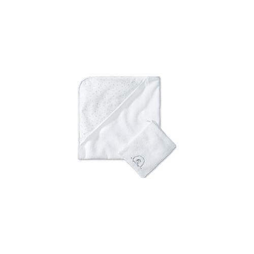 Schiesser Baby-Badeset aus Handtuch und Waschlappen unisex Frottee weiß - Original Classics 1