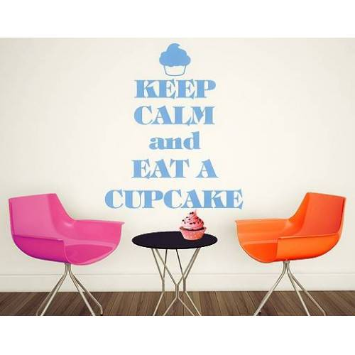 Wandtattoo Küchenspruch No.EV71 Keep Calm And Eat A Cupcake