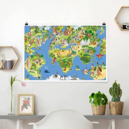 Poster Great and funny Worldmap
