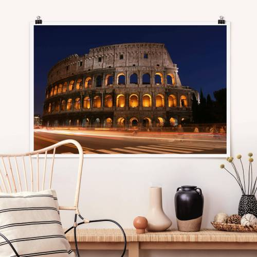 Poster Colosseum in Rom bei Nacht