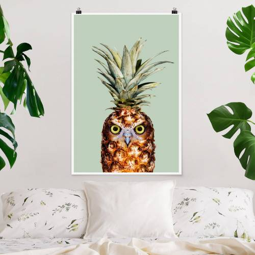Poster Tiere Ananas mit Eule