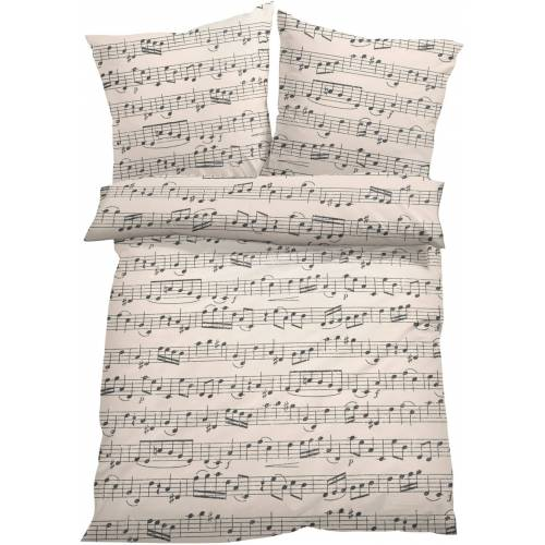 bonprix Bettwäsche mit Musiknoten beige