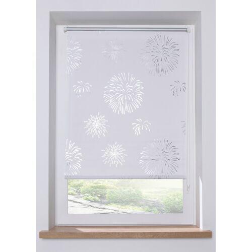 bonprix Sichtschutzrollo mit Glanzdruck weiß