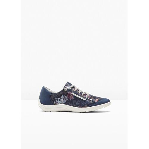 bonprix bequemer Sneaker aus Leder in H-Weite blau