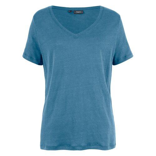 bonprix Lockeres Shirt aus 100% Leinen blau