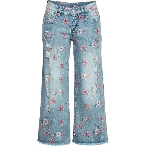 bonprix Culotte-Jeans mit Blumenprint blau