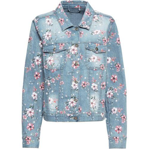bonprix Jeansjacke mit Blumenprint blau