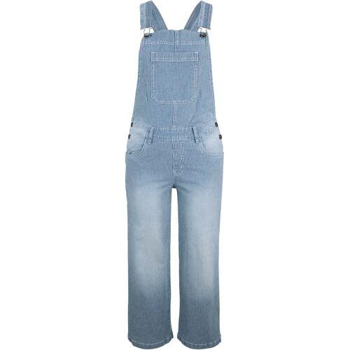 bonprix 3/4 Stretch-Jeans-Latzhose, Wide, gestreift blau