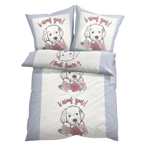 bonprix Bettwäsche mit Hunde Motiv weiß