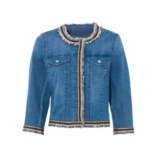 bonprix Jeansjacke mit Fransen blau