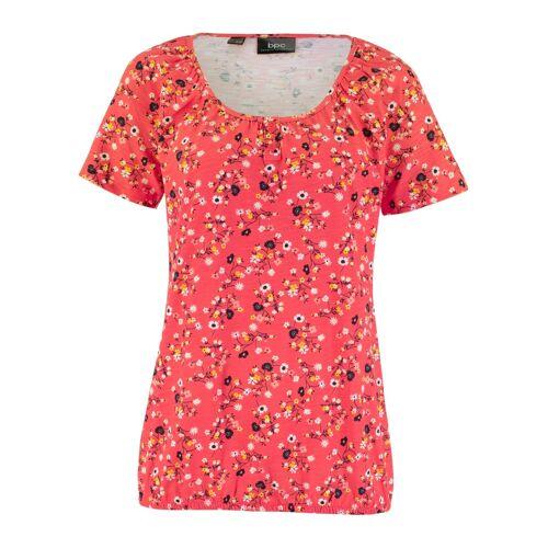 bonprix Bedrucktes Shirt mit Knopfleiste und Gummibund rot