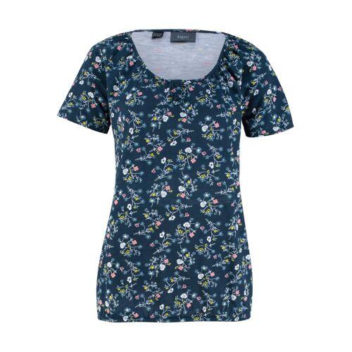 bonprix Bedrucktes Shirt mit Knopfleiste und Gummibund blau