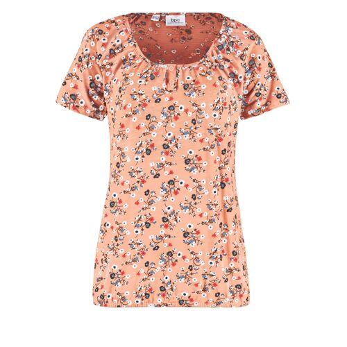 bonprix Bedrucktes Shirt mit Knopfleiste und Gummibund orange