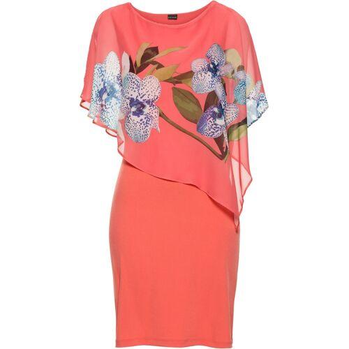 bonprix Jerseykleid mit Chiffon-Überwurf pink