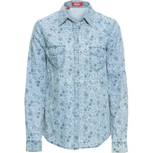 bonprix Bedruckte Jeansbluse mit langen Ärmeln blau