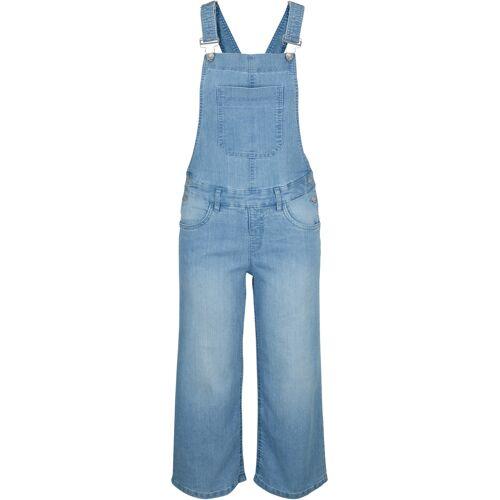 bonprix Komfort-Stretch-Jeans-Latzhose, Wide blau