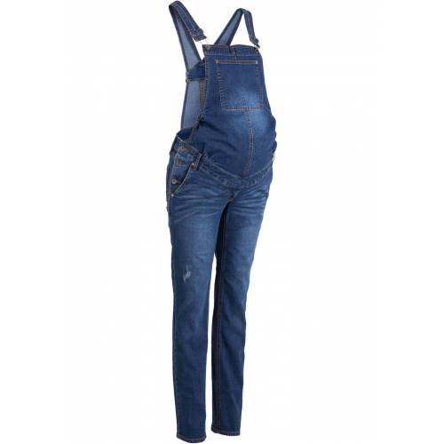 bonprix Umstands-Jeanslatzhose, Straight blau