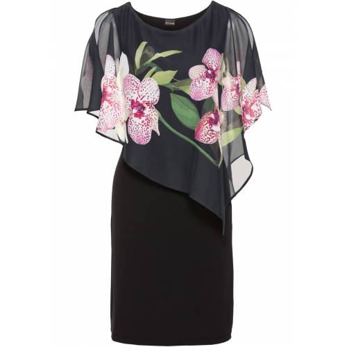 bonprix Jerseykleid mit Chiffon-Überwurf schwarz