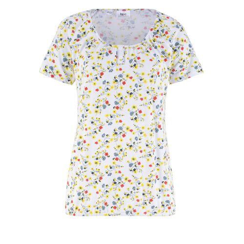 bonprix Bedrucktes Shirt mit Knopfleiste und Gummibund weiß
